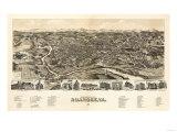 Roanoke, Virginia - Panoramic Map Premium Giclee-trykk av  Lantern Press