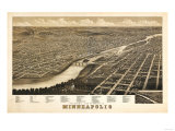 Minneapolis, Minnesota - Panoramic Map Premium Giclee-trykk av  Lantern Press