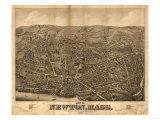 Newton, Massachusetts - Panoramic Map Poster av  Lantern Press