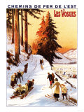 Lorraine, France - Sledding and Skiing at Vosges Poster Premium Giclee Print by  Lantern Press