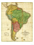 South America - Panoramic Map Premium Giclee-trykk av  Lantern Press