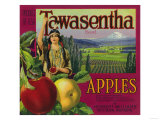 White Salmon, Washington - Tawasentha Apple Label Póster por  Lantern Press