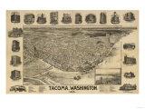 Washington - Panoramic Map of Tacoma Plakater av  Lantern Press