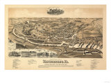 Waynesboro, Virginia - Panoramic Map Poster av  Lantern Press