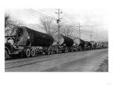 Larson Logging Co with 13 Truck Caravan - Bellingham, WA Prints by  Lantern Press