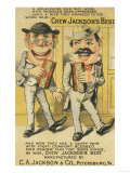 Jackson's Best Chew Advertisement, Happy Pair of Men - Petersburg, VA Premium Giclee-trykk av  Lantern Press