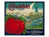 Columbia Apple Crate Label - Yakima, WA Arte por  Lantern Press