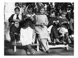 Girls Knitting in Albania Photograph - Albania Láminas por  Lantern Press