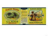 Hunter Clams Label - Milbridge, ME Lámina giclée prémium por  Lantern Press