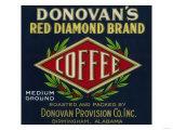 Donovan's Coffee Label - Birmingham, AL Láminas por  Lantern Press