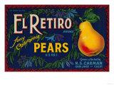 El Retiro Pear Crate Label - San Jose  CA