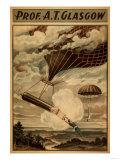 Glasgow Hot Air Balloon Circus Theatre Poster Poster von  Lantern Press