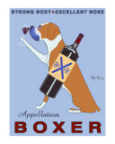 Wijn drinkende hond, Appellation Boxer met Engelse reclametekst Verzamelposters van Ken Bailey