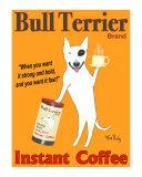 Bull Terrier Coffee Reproduction pour collectionneur par Ken Bailey