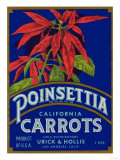 Poinsettia Carrot Label - Los Angeles, CA Prints by  Lantern Press
