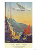Pan-American Clipper Flying Over China - Hong Kong, China Plakat af  Lantern Press