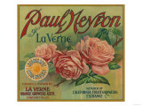 Paul Neyron of La Verne Orange Label - Lordsburg, CA Poster by  Lantern Press