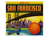 San Francisco Orange Label - San Francisco, CA Julisteet tekijänä  Lantern Press