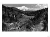 View of the Mountain, Valley, and Train - Mt. Shasta, CA Láminas por  Lantern Press
