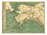 Alaska - Panoramic State Map Kunst av  Lantern Press