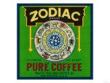 Zodiac Coffee Label - New Orleans, LA Láminas por  Lantern Press