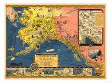 Alaska - Steamship Company Panoramic Map Premium Giclee-trykk av  Lantern Press