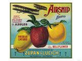 Airship Apple Crate Label - Watsonville, CA Láminas por  Lantern Press