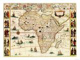 Carte panoramique ancienne de l'Afrique Affiches par  Lantern Press