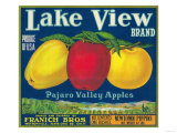 Lake View Apple Label - Watsonville, CA Láminas por  Lantern Press
