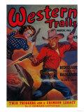 Western Trails Magazine Cover Kunst af  Lantern Press
