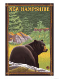 New Hampshire - Black Bear in Forest Print by  Lantern Press