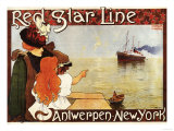 Antwerp, Belgium - Red Star Line Cruises to New York Promo Poster - Antwerp, Belgium Poster by  Lantern Press