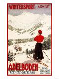 Adelboden, Switzerland - Woman Skier Overlooking Adelboden Poster Affischer av  Lantern Press