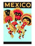 Mexique: 3 danseurs avec parure de tête Posters
