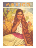 Mexico: Young Girl and Cactus , Poster Style Posters