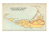 Map of Nantucket Island, Massachusetts Poster