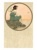 Girl with Tortoise, Art Nouveau Giclée-Premiumdruck