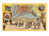 Alaska Map with Sled Dogs Plakater
