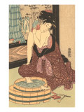 Japanese Woodblock, Lady at Bath Poster