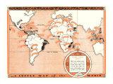 Café Mapa del Mundo Láminas