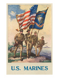 US Marines - Soldiers on Shore with US and Marine Flags Prints