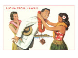 Aloha, Man Getting Lei, Hawaii Plakat