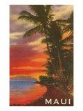 Sunset, Maui, Hawaii Premium Giclee-trykk