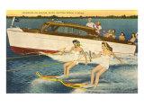 Water Skiers, Daytona Beach, Florida Print