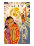 マハロ, ハワイのメニューのグラフィック ポスター