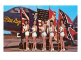Bathing Beauties with Flags and Blue Angel Jet Póster