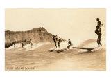 Surf Riding, Hawaii, Photo Premium Giclee-trykk