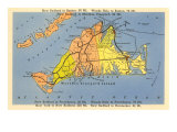 Map of Martha's Vineyard, Massachusetts Plakat