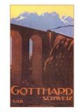 Zug auf einer Brücke am Gotthard, Schweiz, Grafik Poster