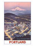 Poster of Mt. Hood over Portland, Oregon Kunstdrucke